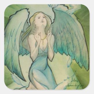 Ángel de la paz pegatina cuadrada