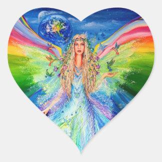 Ángel de la paz pegatina en forma de corazón