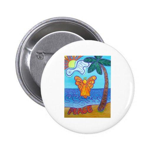 Ángel de la playa de California Pin Redondo De 2 Pulgadas