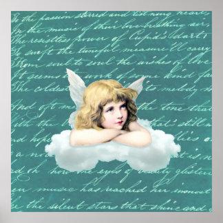 Ángel de la querube del vintage en una nube posters