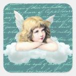 Ángel de la querube del vintage en una nube calcomanía cuadradas personalizada