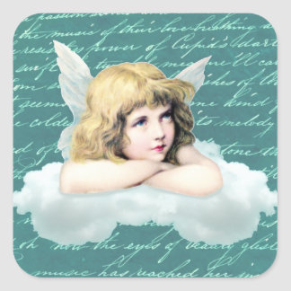 Ángel de la querube del vintage en una nube pegatina cuadrada