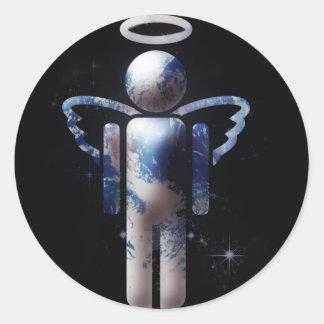 Ángel de la tierra pegatina redonda