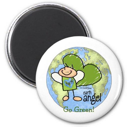 Ángel de la tierra - va el verde imanes para frigoríficos
