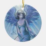 Ángel de la tolerancia adorno navideño redondo de cerámica