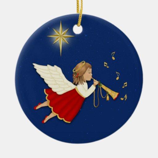 Ángel de la trompeta adorno navideño redondo de cerámica