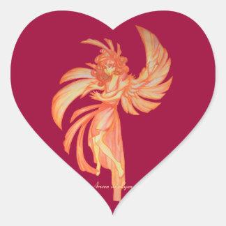 Ángel de la vida 2 pegatina en forma de corazón