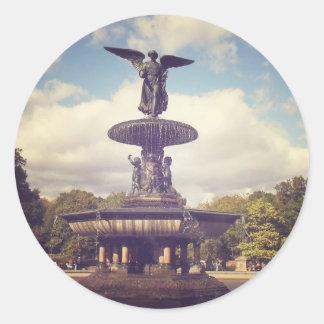 Ángel de las aguas, Central Park, New York City Pegatina Redonda