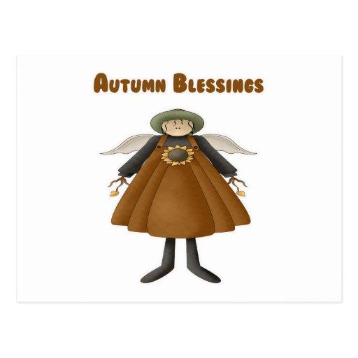 Ángel de las bendiciones del otoño postal
