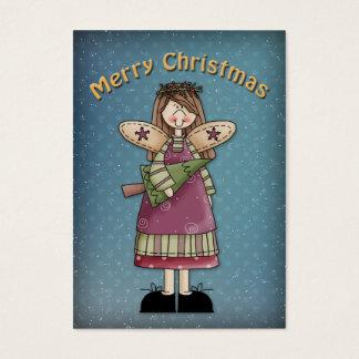 Ángel de las Felices Navidad con el árbol Tarjetas De Visita Grandes