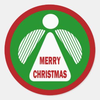 Ángel de las Felices Navidad Pegatina Redonda