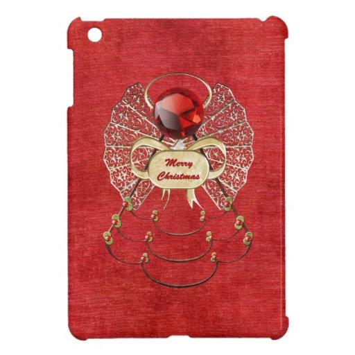 Ángel de las Felices Navidad - rojo iPad Mini Cobertura