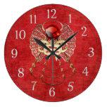 Ángel de las Felices Navidad - rojo Reloj De Pared