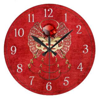 Ángel de las Felices Navidad - rojo Reloj Redondo Grande