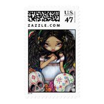 art, fantasy, dia de los muertos, day of the dead, day, dead, dia, los, muertos, halloween, angel, skull, skulls, skeleton, skeletons, wings, wing, sugar, sugar skulls, mexico, mexican, latina, latin, hispanic, culture, holiday, eye, eyes, big eye, big eyed, jasmine, becket-griffith, becket, griffith, jasmine becket-griffith, jasmin, strangeling, artist, goth, Selo postal com design gráfico personalizado