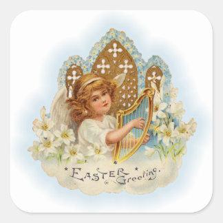 Ángel de los saludos de Pascua del vintage Pegatina Cuadrada