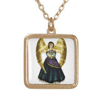 Ángel de Menorah Collar Dorado