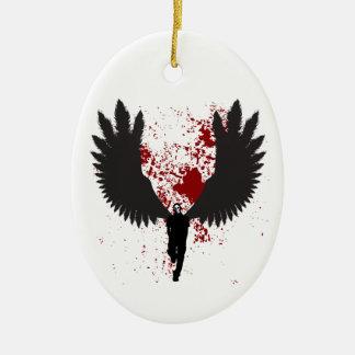 Ángel de muerte adorno navideño ovalado de cerámica