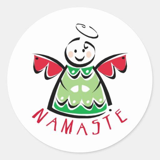 Ángel de Namaste del día de fiesta Pegatina Redonda