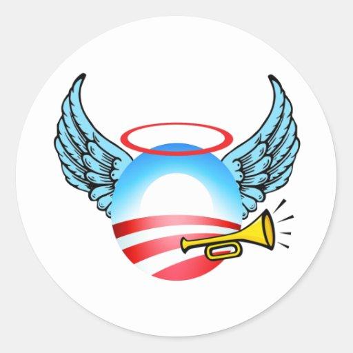 Ángel de Obama Etiquetas Redondas