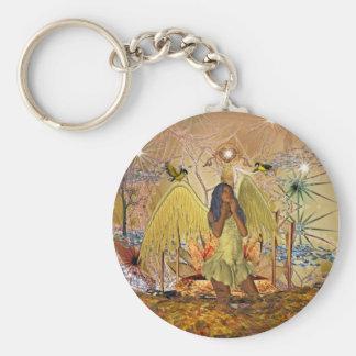 Ángel de oro del arte de la fantasía del llavero