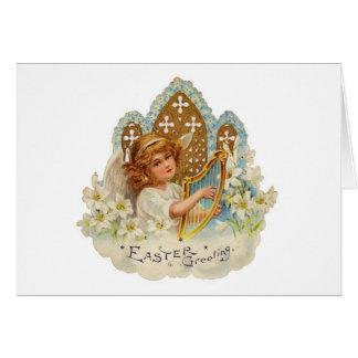 Ángel de Pascua con la arpa - tarjeta