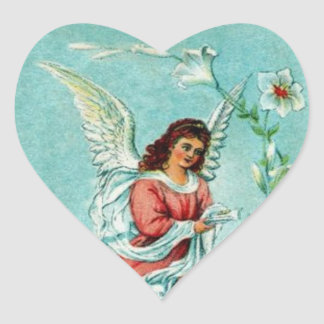 Ángel de Pascua con las flores Calcomania De Corazon