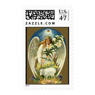 Ángel de Pascua del vintage, cordero, flor del Timbres Postales