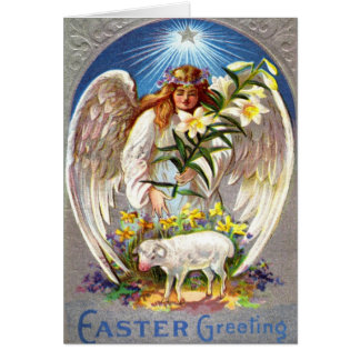 Ángel de Pascua del vintage y tarjeta del cordero