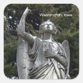 Ángel de piedra, Washington, Iowa Pegatina Cuadrada