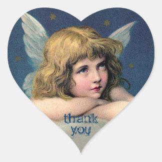Ángel de reclinación del vintage - gracias - pegatina en forma de corazón