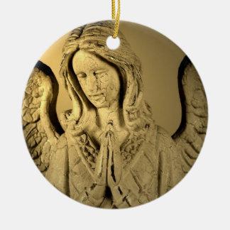 Ángel de rogación adorno navideño redondo de cerámica