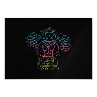 """Ángel de rogación en colores pastel invitación 3.5"""" x 5"""""""