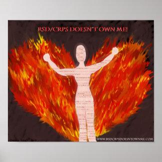 Ángel de RSD/CRPS con las alas del fuego Póster