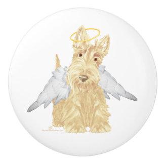 Ángel de trigo de Terrier del escocés Pomo De Cerámica
