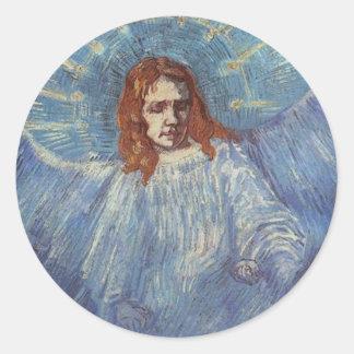 Ángel de Vincent van Gogh Pegatina Redonda