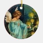 Angel Decorates Tree Vintage Christmas Ornament