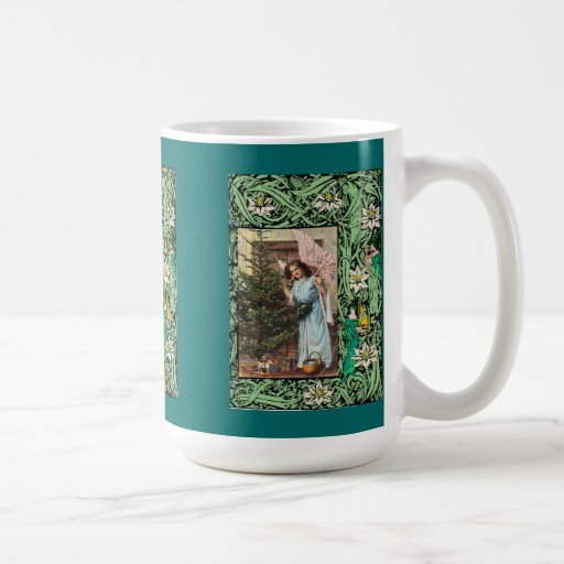 Angel decorating a Christmas tree Classic White Coffee Mug