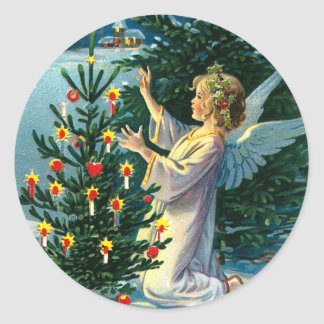 Angel Decorating Christmas Tree 2 Classic Round Sticker