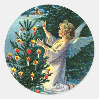 Angel Decorating Christmas Tree 2 Classic Round Sticker