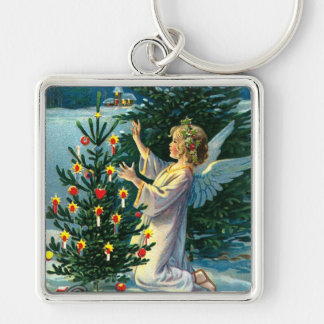 Angel Decorating Christmas Tree 2 Silver-Colored Square Keychain
