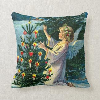 Angel Decorating Christmas Tree 2 Throw Pillow