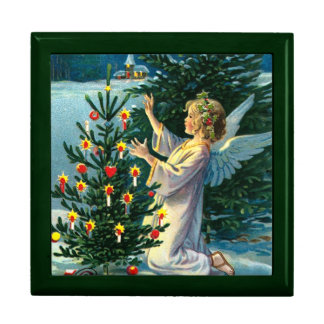 Angel Decorating Christmas Tree 2 Trinket Box