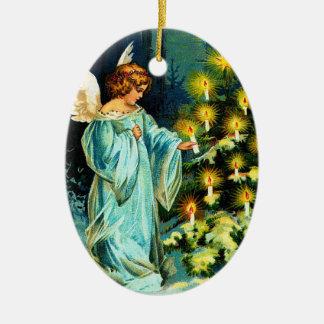 Angel Decorating Christmas Tree Ceramic Ornament