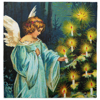 Angel Decorating Christmas Tree Napkin