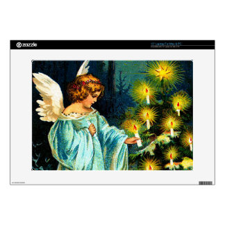 "Angel Decorating Christmas Tree 15"" Laptop Decal"