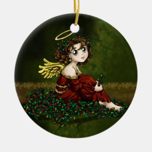 Ángel del acebo adorno navideño redondo de cerámica