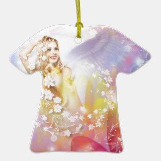 Ángel del amor adorno de cerámica en forma de camiseta