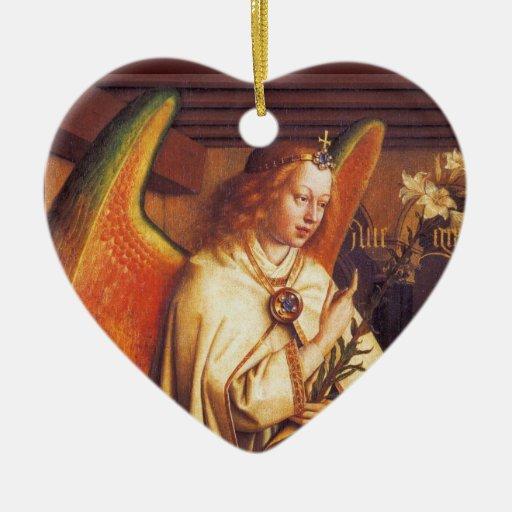 Ángel del anuncio, corazón adorno de cerámica en forma de corazón