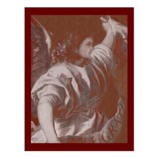 Ángel del anuncio de Titian con una bandera Postal